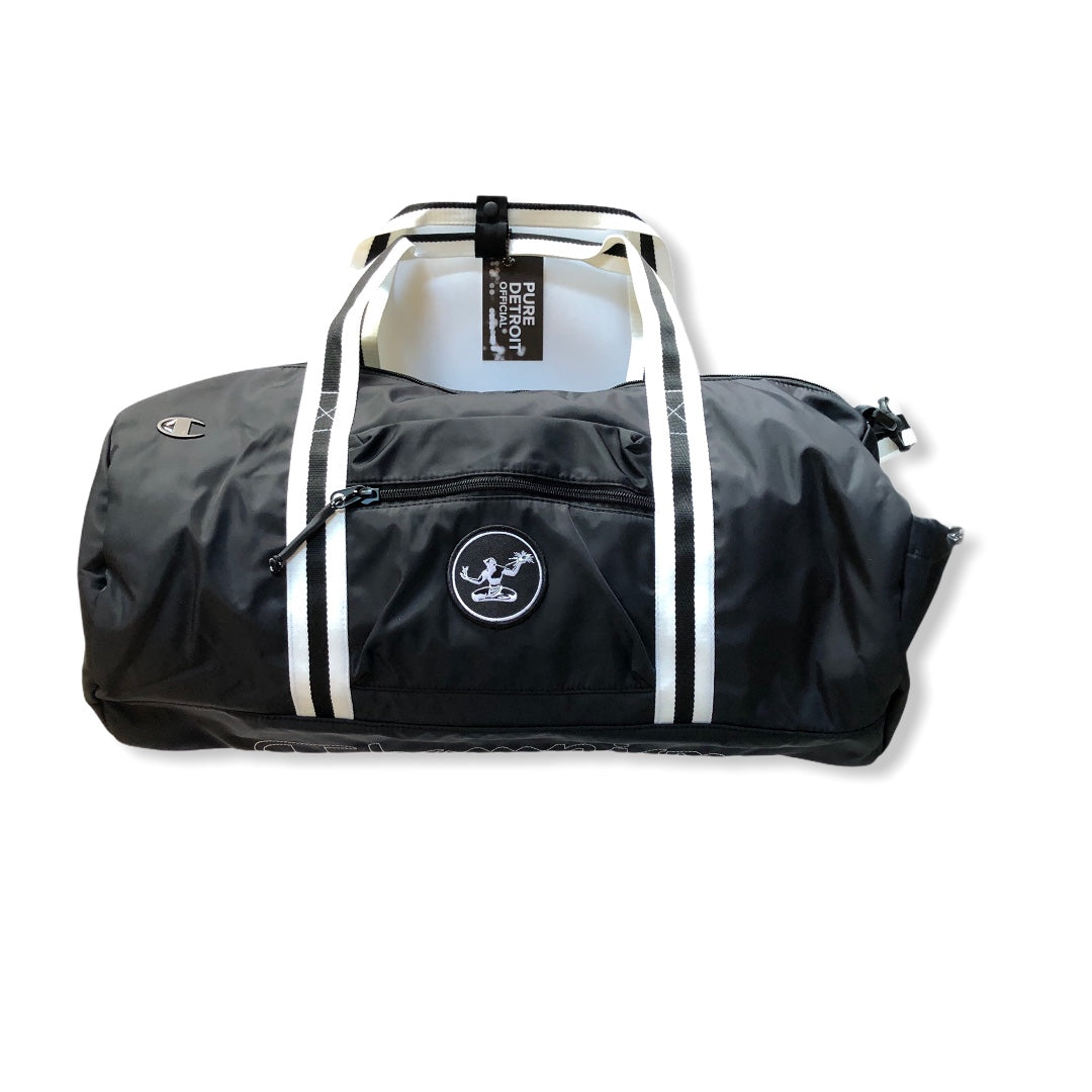 Spirit of Detroit Champion Duffel Bag / White + Black - Pure Detroit