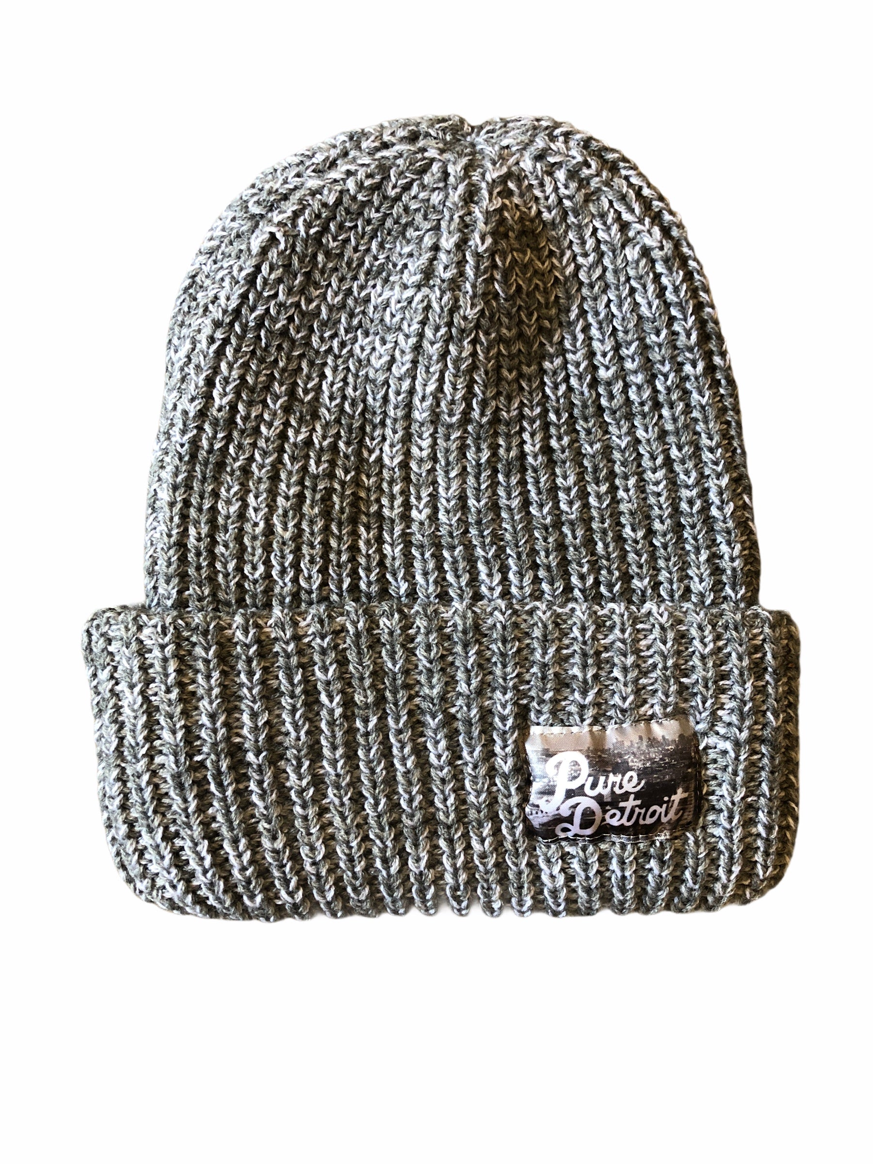 Pure Detroit Chunky Knit Cuffed Beanie / Heather Gray - Pure Detroit