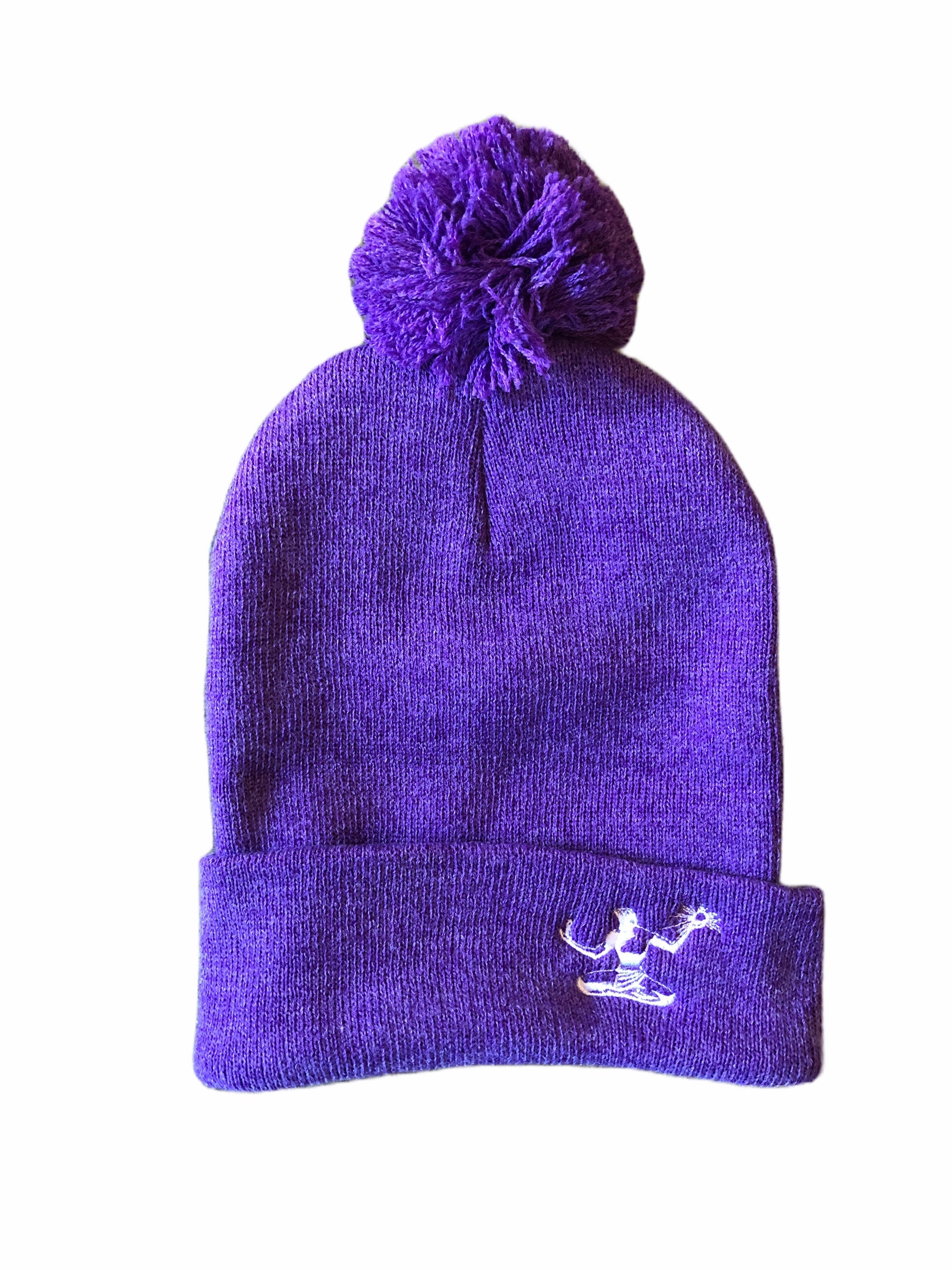 Spirit of Detroit Pom Pom Knit Cuffed Beanie / Heather Purple - Pure Detroit