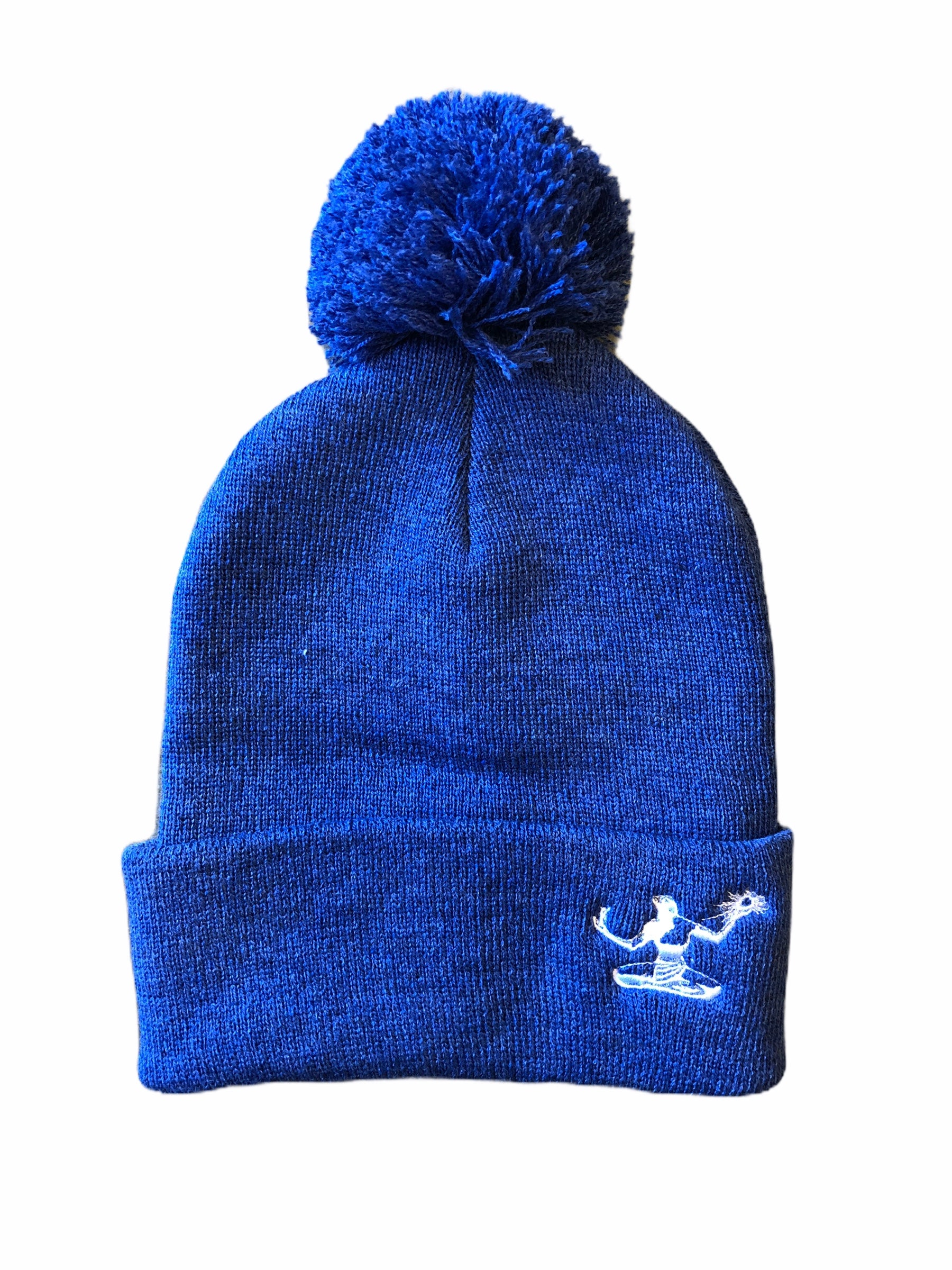 Spirit of Detroit Pom Pom Knit Cuffed Beanie / Heather Dark Royal - Pure Detroit