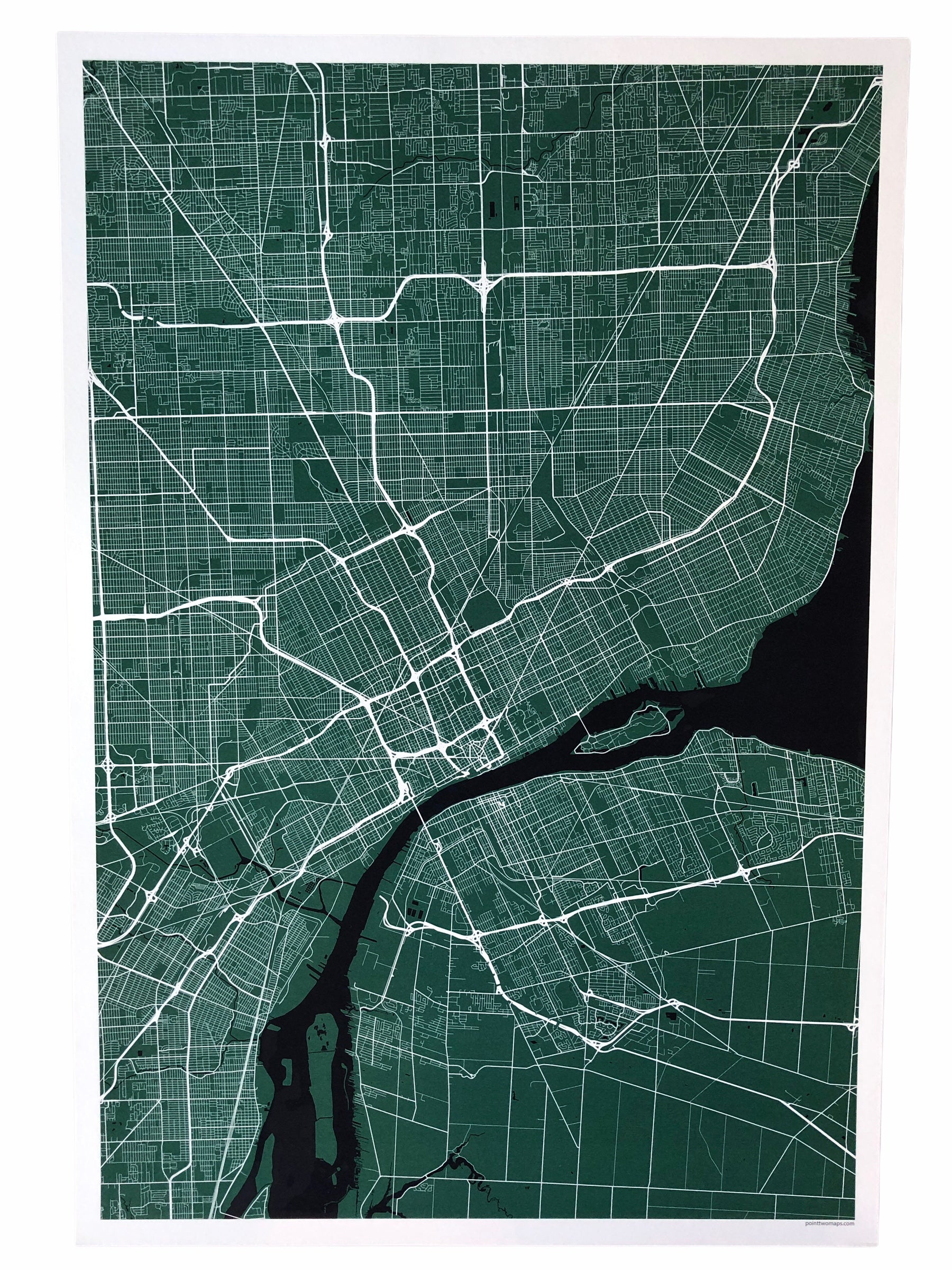 "12"" x 18"" Detroit City Map Print - Black (no words) - Pure Detroit"