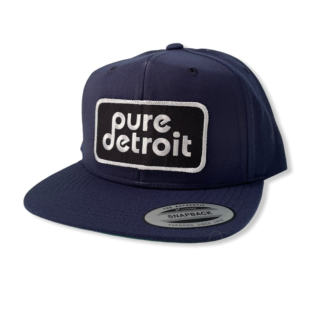 Pure Detroit Snapback Hat / Navy - Pure Detroit