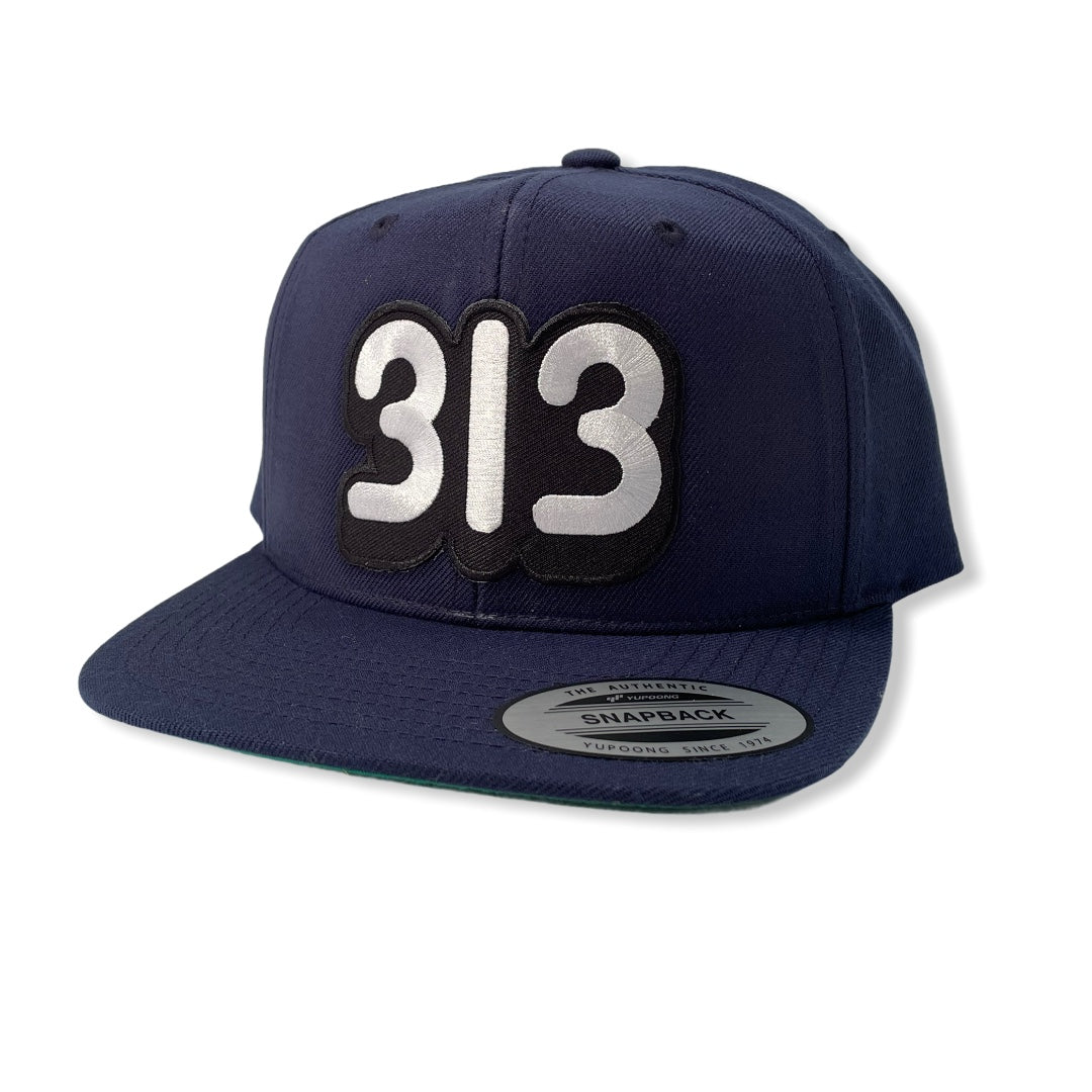313 Snapback Hat / Navy - Pure Detroit