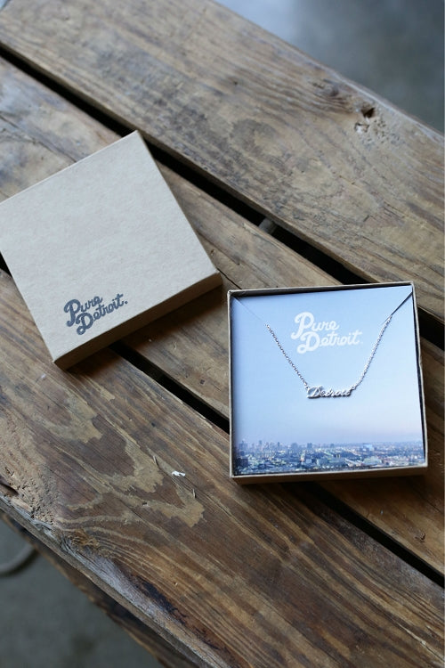 Dainty Detroit Script Necklace / Silver - Pure Detroit