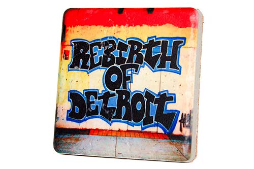 Rebirth of Detroit Porcelain Tile Coaster - Pure Detroit
