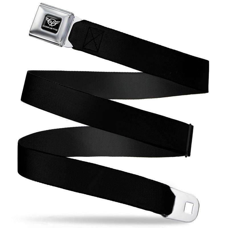 Corvette Seatbelt Belt / Silver Logo + Black Webbing