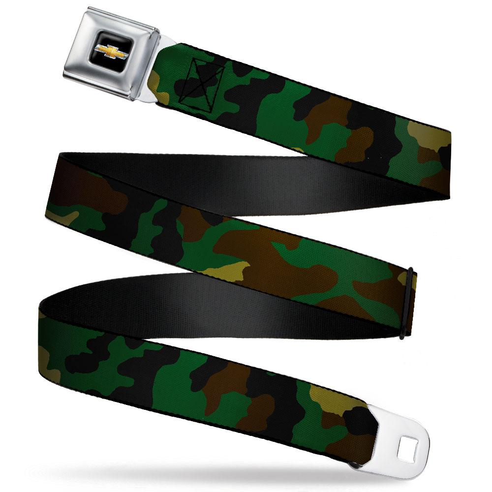 Chevy Seatbelt Belt / Gold Logo + Camo Webbing - Pure Detroit