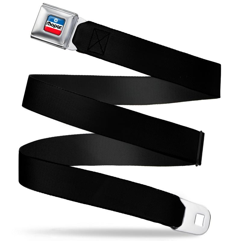 Mopar Chrysler Seatbelt Belt / Mopar Chrysler Color Logo + Black Webbing - Pure Detroit