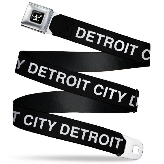 Detroit City Seatbelt Belt / Spirit of Detroit Logo + Detroit City Black Webbing