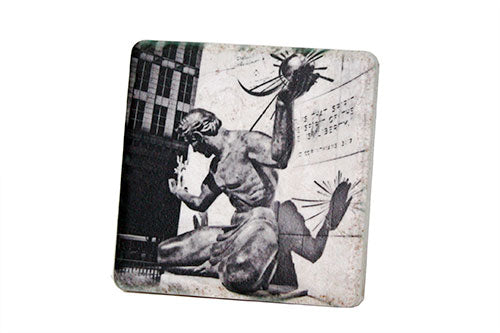 Spirit of Detroit Black & White Porcelain Tile Coaster