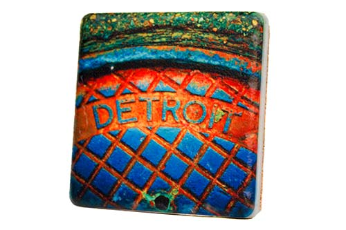 Detroit Manhole Steam Porcelain Tile Coaster - Pure Detroit