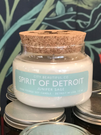 Spirit of Detroit Candle - Juniper and Sage - 15 oz