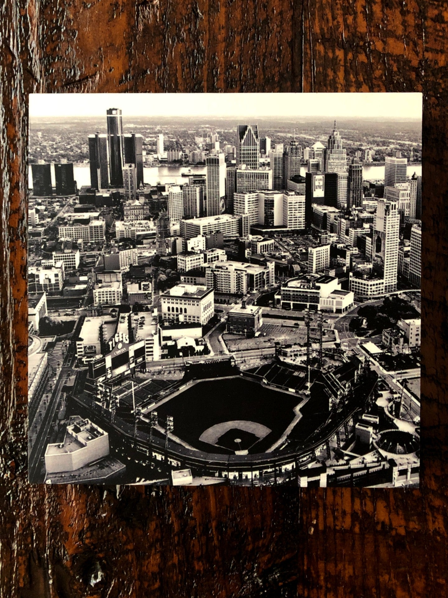Comerica Park Aerial Black and White Woodblock Print