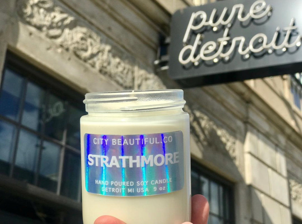 Strathmore Special-Edition  Hand Poured Soy Candle by City Beautiful . Co - 9oz. - Pure Detroit