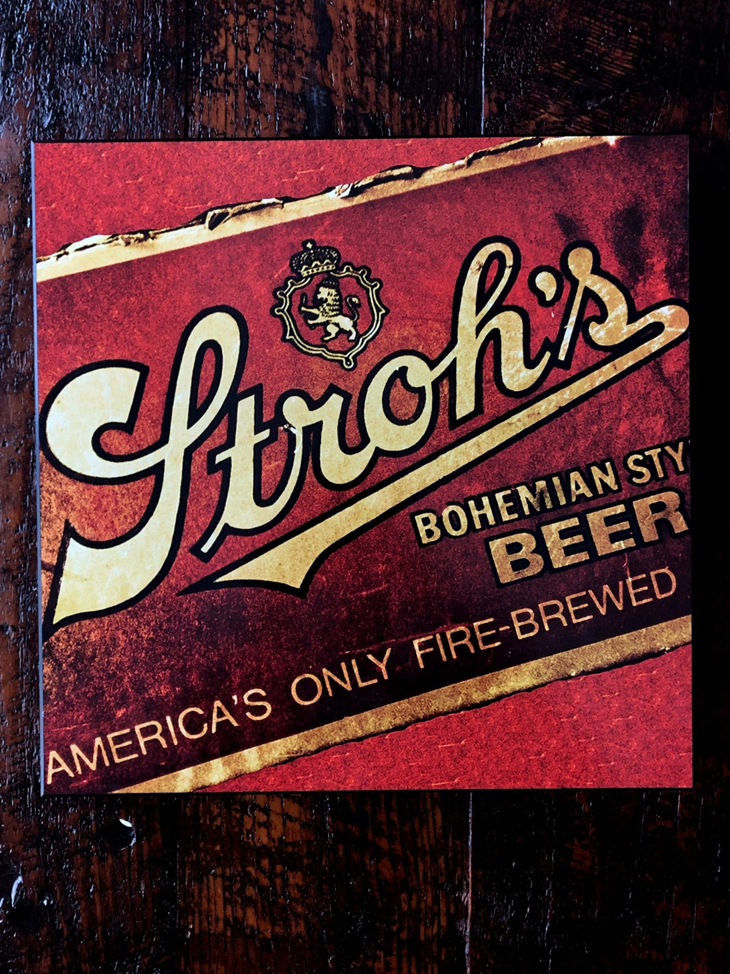 Stroh's Fire Brewed Woodblock Print - Pure Detroit