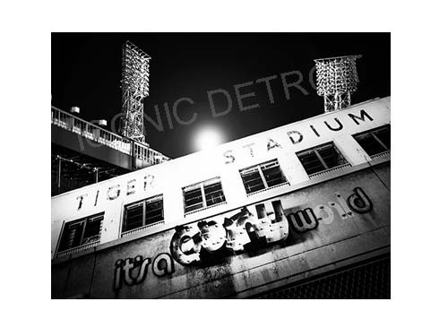 Tiger Stadium Lights Luster or Canvas Print $35 - $430 - Pure Detroit