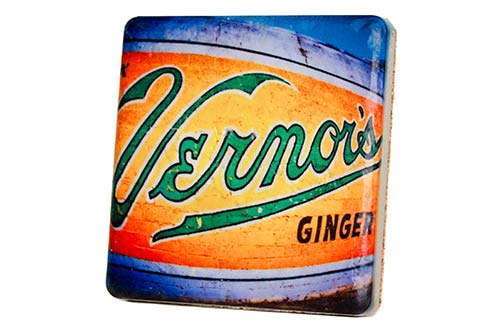 Retro Vernor's Mural Porcelain Tile Coaster