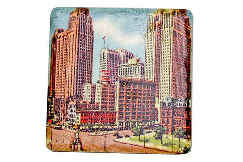 Vintage Downtown Detroit Porcelain Tile Coaster - Pure Detroit