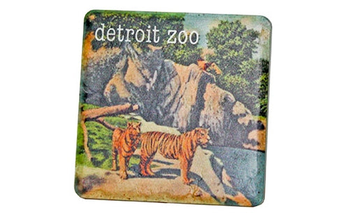Vintage Detroit Zoo Tigers Porcelain Tile Coaster - Pure Detroit