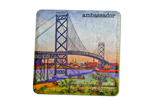 Vintage Ambassador Bridge Porcelain Tile Coaster - Pure Detroit