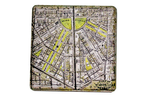Vintage Detroit City Map Porcelain Tile Coaster - Pure Detroit