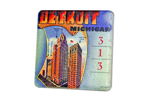 Vintage Detroit 313 Skyscrapers Porcelain Tile Coaster - Pure Detroit