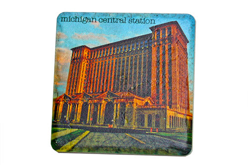 Michigan Central Station Sunlight Porcelain Tile Coaster - Pure Detroit