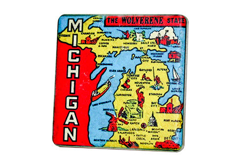 Michigan Icons Map Porcelain Tile Coaster