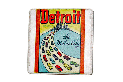 Vintage Detroit The Motor City Porcelain Tile Coaster - Pure Detroit