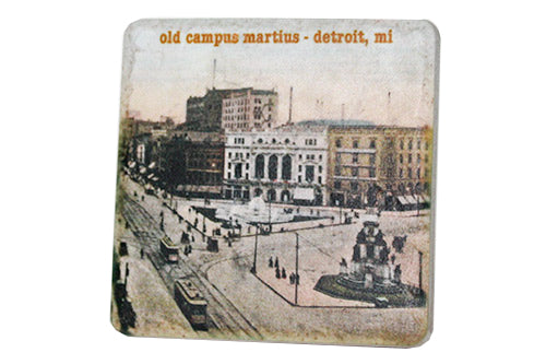 Vintage Old Campus Martius Porcelain Tile Coaster - Pure Detroit
