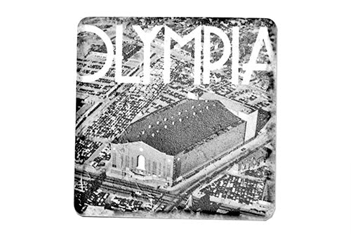 Historic Olympia Stadium Aerial Black & White Porcelain Tile Coaster - Pure Detroit