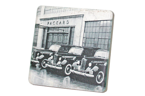 Historic Packard Plant Cars Black & White Porcelain Tile Coaster - Pure Detroit