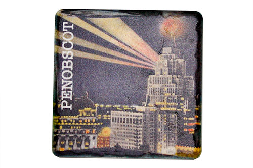 Vintage Penobscot at Night Porcelain Tile Coaster - Pure Detroit