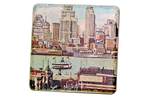 Vintage Detroit River Skyline Tile Coaster - Pure Detroit