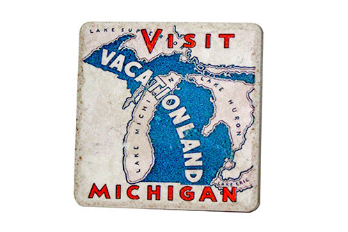 Visit Michigan Vacation-land Porcelain Tile Coaster - Pure Detroit