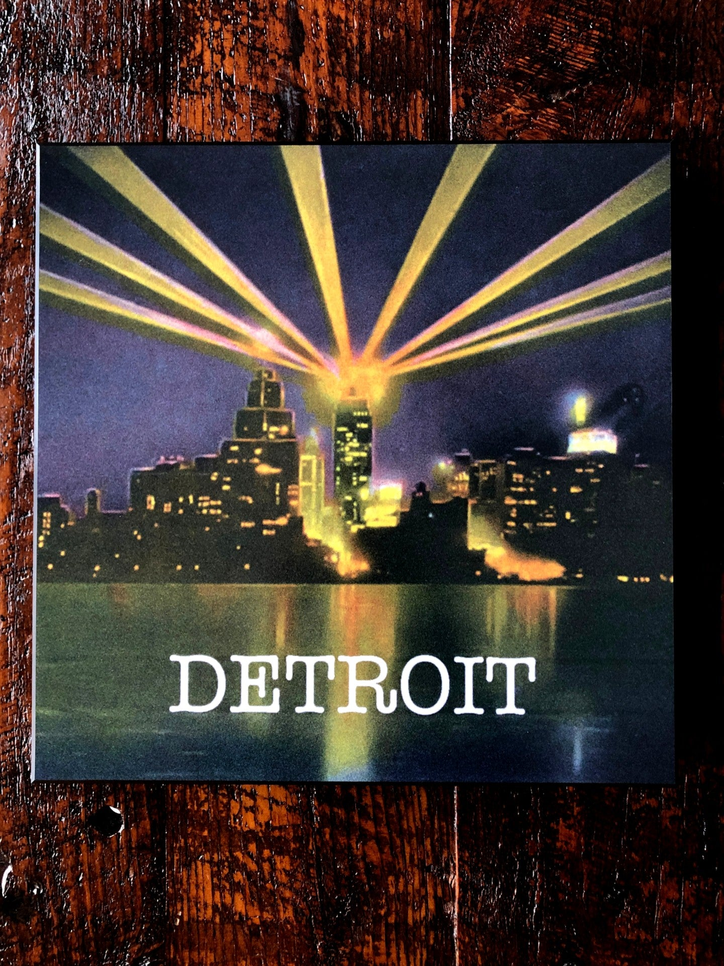 Vintage Detroit at Night Woodblock Print - Pure Detroit