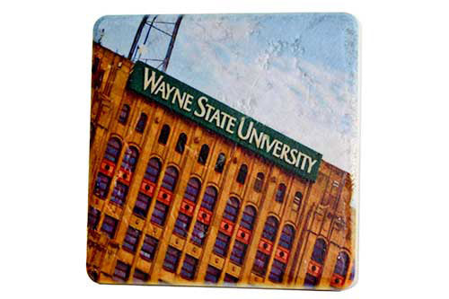 Wayne State University Maccabee Building Porcelain Tile Coaster - Pure Detroit