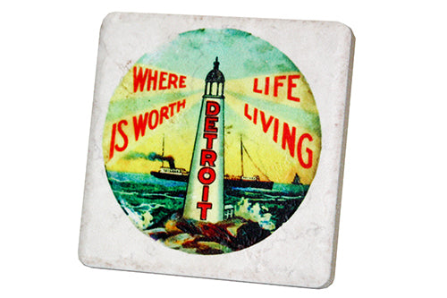 Detroit Where Life is Worth Living Porcelain Tile Coaster - Pure Detroit