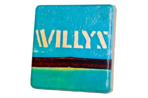 Vintage Willy's Coaster Porcelain Tile Coaster