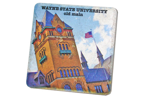 Wayne State University Old Main Tower Porcelain Tile Coaster - Pure Detroit