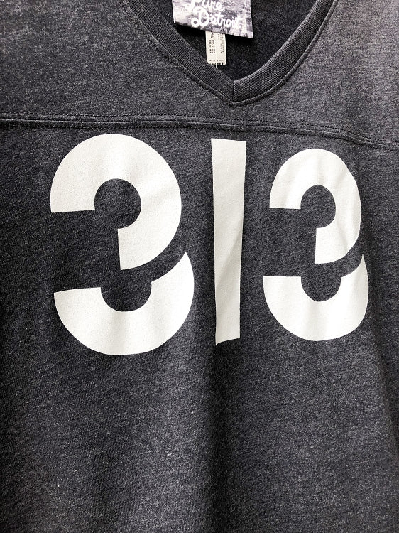 313 V-Neck Football Tee / White + Vintage Navy / Women's