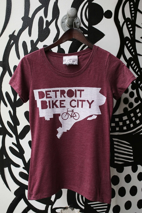 Detroit Bike City Tee / White + Heather Maroon / Women's - Pure Detroit