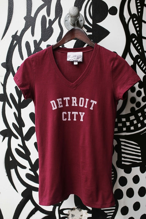 Detroit City V-Neck Tee / White + Maroon / Women's