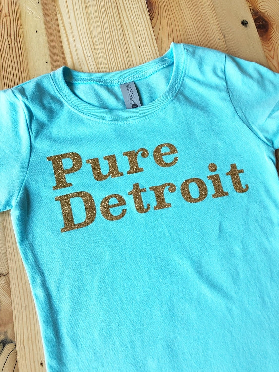Pure Detroit Toddler Sparkle Tee / Gold Sparkle + Light Blue / Toddler