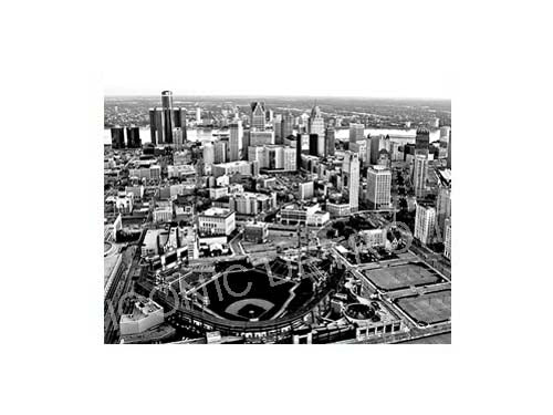 Comerica Park Aerial Black & White Luster or Canvas Print $35 - $430 - Pure Detroit