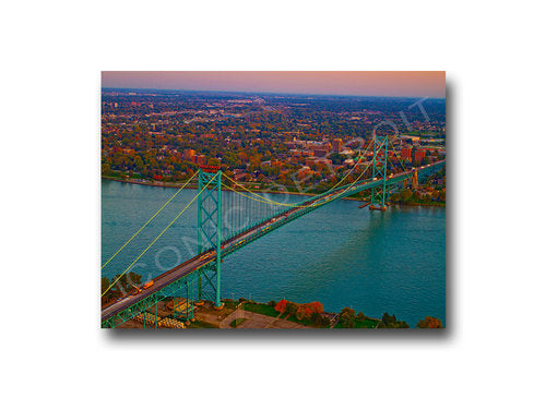 Ambassador Bridge Aerial Luster or Canvas Print (Multiple sizes) - Pure Detroit