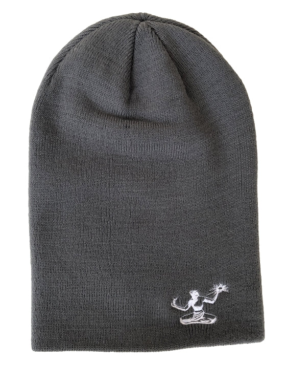 Spirit of Detroit Slouch Beanie / White + Grey - Pure Detroit