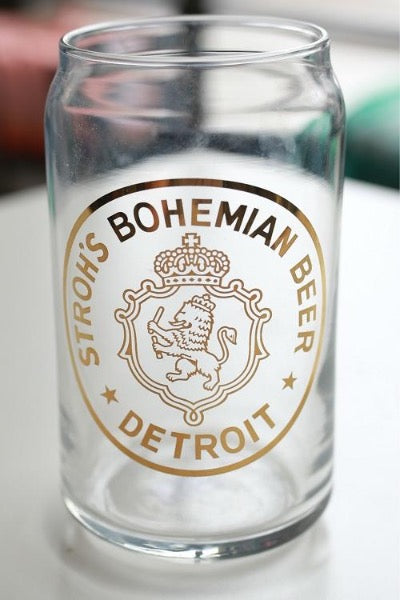 Stroh's Bohemian 16oz Beer Can Glass