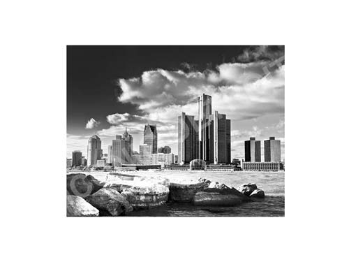 Detroit River Rocks Black & White Luster or Canvas Print $35 - $430 - Pure Detroit