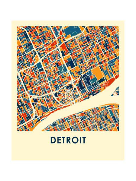 "11"" x 14"" Detroit Full Color Map - Pure Detroit"